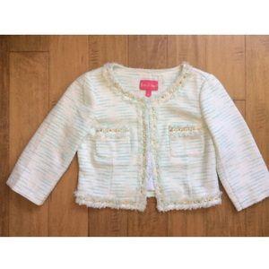 Lily Pulitzer White Striped Tweed Jacket Sz 6